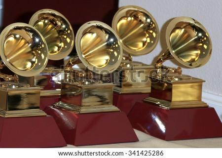 LAS VEGAS - NOV 19:  Grammy Award Statues at the 16th Latin GRAMMY Awards at the MGM Grand Garden Arena on November 19, 2015 in Las Vegas, NV - stock photo