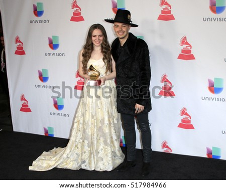 LAS VEGAS - NOV 17:  Joy Huerta, Jesse Huerta at the 17th Annual Latin Grammy Awards Press Room at T-Mobile Arena on November 17, 2016 in Las Vegas, NV