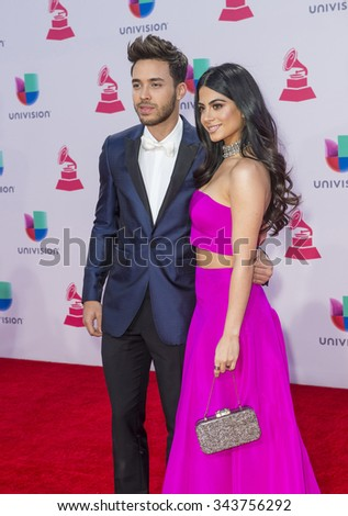 LAS VEGAS , NOV 19 : Recording artist Prince Royce (L) and actress Emeraude Toubia attends the 16th Annual Latin GRAMMY Awards on November 19 2015 at the MGM Grand Arena in Las Vegas, Nevada - stock photo