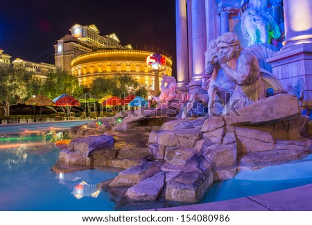 LAS VEGAS - NOV 08 :The Caesar Palace hotel on November 08 2013 in Las Vegas. Caesars Palace is a luxury hotel and casino located on the Las Vegas Strip. Caesars has 3,348 rooms in five towers - stock photo