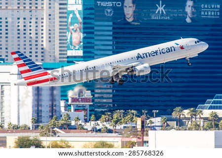 LAS VEGAS - NOVEMBER 3: Airbus A320 American Airlines takes off from McCarran Airport in Las Vegas, NV on November 3, 2014. American Airlines is one of the oldest airlines in United States.