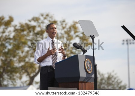 LAS VEGAS - NOVEMBER 01: President Barack Obama at a 2012 Election Campaign rally at Cheyenne Sports Complex on November 01, 2012 in North Las Vegas, Nevada - stock photo