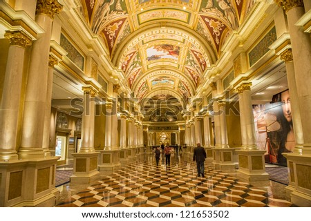 LAS VEGAS - NOVEMBER 08: the interior of Venetian Hotel on November 08, 2012 in Las Vegas. Las Vegas in 2012 is projected to break the all-time visitor volume record of 39-plus million visitors - stock photo