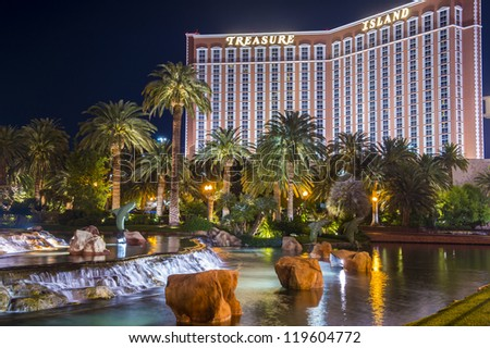 LAS VEGAS - NOVEMBER 08: Treasure Island hotel and casino on November 08, 2012 in Las Vegas. Las Vegas in 2012 is projected to break the all-time visitor volume record of 39-plus million visitors - stock photo
