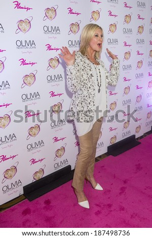 LAS VEGAS, NV - APRIL 11: Entertainer Olivia Newton-John attends the grand opening of her residency show 'Summer Nights' at Flamingo Las Vegas on April 11, 2014 in Las Vega - stock photo