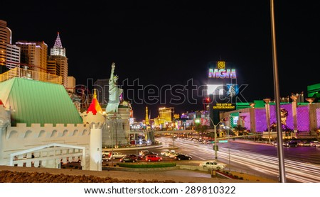 LAS VEGAS, NV -  APRIL 10, 2011: New York-New York and MGM Grand Hotel on April 10, 2011 in Las Vegas, Nevada. MGM Resorts reported revenue gain of 43% to $2.23 billion in third quarter 2011  - stock photo