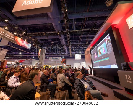 LAS VEGAS, NV - April 15: Presentation at Adobe booth at NAB Show 2015 exhibition in Las Vegas, NAB Show is an annual trade show produced by the National Association of Broadcasters. - stock photo