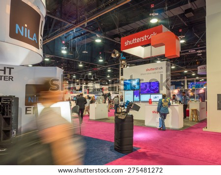 LAS VEGAS, NV - April 15: Shutterstock at NAB Show 2015, an annual trade show by the National Association of Broadcasters. Held in Las Vegas Convention Center, April 13-16. - stock photo
