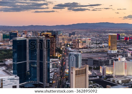 LAS VEGAS, NV - AUGUST 12: View of Las Vegas from Stratosphere Tower at dusk on August 12, 2015 in Las Vegas, USA. Las Vegas is one of the top tourist destinations in the world. - stock photo