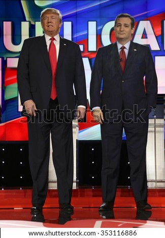 LAS VEGAS, NV - DECEMBER 15: Republican presidential candidates US Senator Ted Cruz and Donald J. Trump at CNN republican presidential debate at The Venetian, December 15, 2015, Las Vegas, Nevada - stock photo