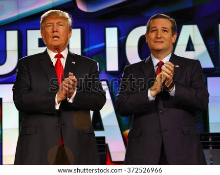 LAS VEGAS, NV - DECEMBER 15: Republican presidential candidates US Senator Ted Cruz and Donald J. Trump clap at CNN republican presidential debate at The Venetian, December 15, 2015, Las Vegas, Nevada