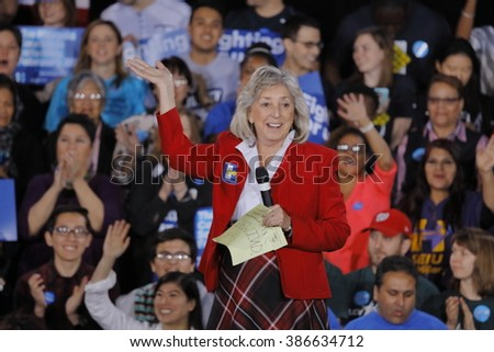 LAS VEGAS, NV - FEBRUARY 19: Congresswoman Dina Titus introduces Secretary of State Hillary Clinton to an excited outdoor rally crowd in Las Vegas, Nevada on Friday February 19, 2016.