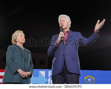LAS VEGAS, NV - FEBRUARY 19:  Democratic presidential candidate former Secretary of State Hillary Clinton and President Bill Clinton February 19, 2016 in Las Vegas, NV.