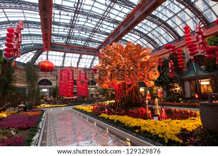 LAS VEGAS, NV - FEBRUARY 17:  Gardens of the Bellagio Hotel & Casino are decorated to celebrate the Chinese New Year for the Year of the Snake in Las Vegas, NV on February 17, 2013. - stock photo