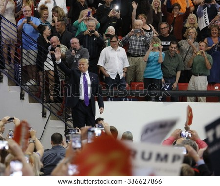 LAS VEGAS, NV - FEBRUARY 22: Republican presidential candidate Donald Trump makes heroic entry at the South Point Las Vegas, Nevada on February 22, 2016.