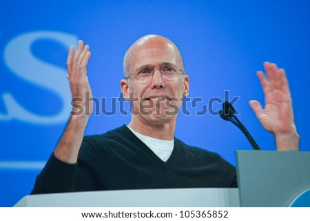 LAS VEGAS, NV - JUNE 5, 2012: DreamWorks Animation chief executive officer Jeffrey Katzenberg delivers an address to HP Discover 2012 conference on June 5, 2012 in Las Vegas, NV - stock photo