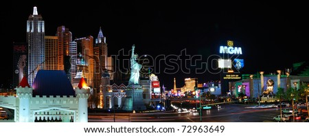 LAS VEGAS, NV - MAR 4: Las Vegas Strip is 3.8 mile stretch featured with world class hotels and casino. March 4, 2010 in Las Vegas, Nevada. - stock photo
