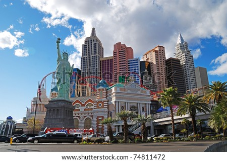 LAS VEGAS, NV - MAR 4:  The Las Vegas Strip is 3.8 mile stretch featured with world class hotels and casino. March 4, 2010 in Las Vegas, Nevada. - stock photo