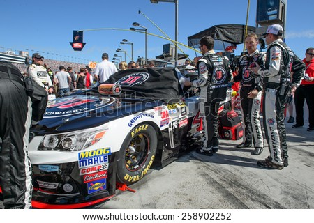 LAS VEGAS, NV - March 08: Kevin Harvick about to get into the car at the NASCAR Sprint Kobalt 400 race at Las Vegas Motor Speedway on March 08, 2015 - stock photo
