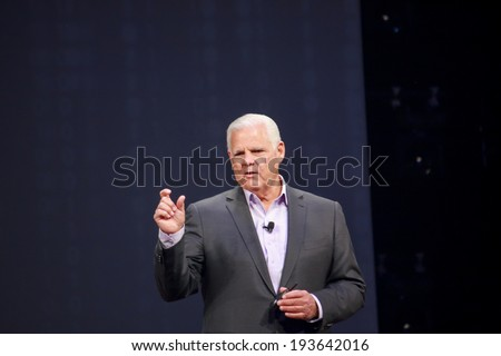 LAS VEGAS, NV -?? MAY 5, 2014: EMC CEO Joe Tucci delivers an address to EMC World 2014 conference on May 5, 2014 in Las Vegas, NV  - stock photo