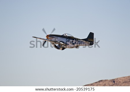 LAS VEGAS, NV - NOV 7:  Vintage P-51 Mustang WWII fighter performs at Aviation Nation 2008 Airshow, November 7, 2008 at Nellis AFB, Las Vegas, NV