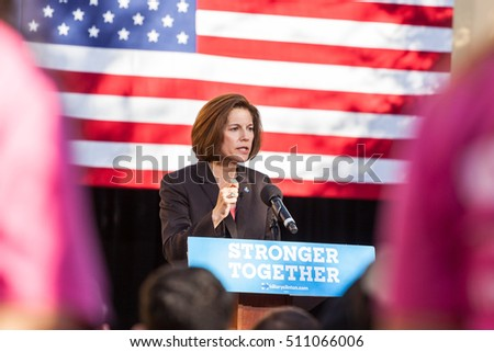 LAS VEGAS, NV - November 6, 2016: Catherine Cortez Masto Campaigns For Democratic Party at CSN.