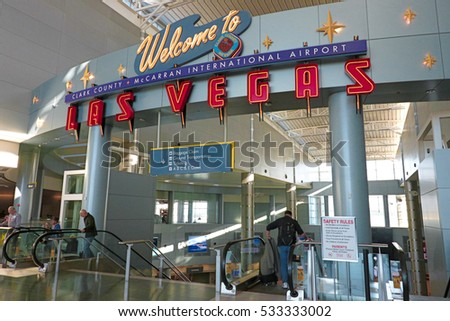 LAS VEGAS, NV - 11 OCT 2016- McCarran International Airport (LAS), located south of the Las Vegas strip, is the main airport in Nevada. There are slot machines in the airport.