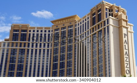 LAS VEGAS, NV - OCT 27: The Palazzo luxury hotel and casino resort located on the Strip in Las Vegas, Nevada, as seen on Oct 27, 2015. It is the tallest completed building in Nevada. - stock photo