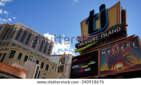 LAS VEGAS, NV - OCT 29: Treasure Island Hotel and Casino in Las Vegas, as seen on Oct 29, 2015. This Caribbean themed resort has an hotel with 2,884 rooms. - stock photo