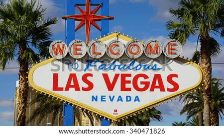 LAS VEGAS, NV - OCT 29: Welcome to Fabulous Las Vegas sign, on Oct 29, 2015. The sign was designed by Betty Willis at the request of Ted Rogich, a local salesman, who sold it to Clark County, Nevada.