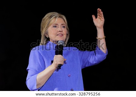 LAS VEGAS, NV - OCTOBER 14, 2015: Hillary Clinton, former U.S. secretary of state and 2016 Democratic presidential candidate, speaks at Hillary for America Nevada Rally, Springs Preserve Amphitheater - stock photo