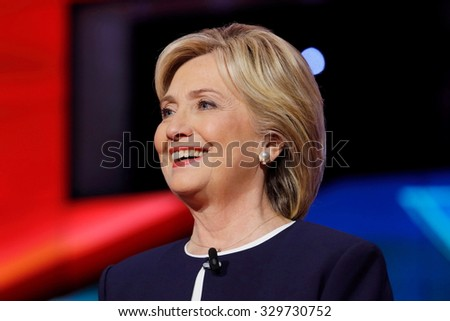 LAS VEGAS, NV - OCTOBER 13 2015: (L-R) Democratic presidential debate features candidate former Secretary of State and U.S. Senator Hillary Clinton at Wynn Las Vegas in first CNN Democratic Debate.