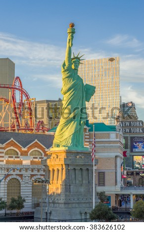 LAS VEGAS, NV/USA - FEBRUARY 12, 2016: Statue of Liberty at dusk at New York-New York Hotel and Casino. New York-New York Hotel & Casino is a hotel and casino located on the Las Vegas Strip. - stock photo