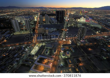 LAS VEGAS, NV, USA-JAN 16: Birdseye of Las Vegas village, January 16, 2014