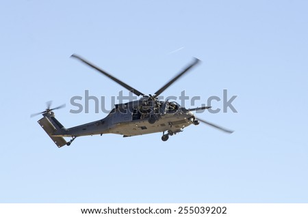 Las Vegas, NV, USA -November 09, 2014: Sikorsky HH-60G Pave Hawk helicopter in a rescue operation, Nellis Air Force Base, Aviation Nation 2014 airshow