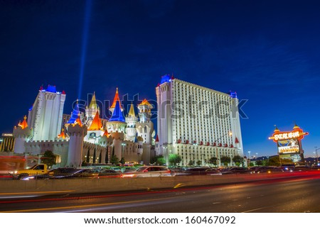 LAS VEGAS -OCT 23 : The Excalibur Hotel and Casino at night on October 23, 2013 , The Hotel was named after King Arthur's sword and opened in 1990 - stock photo