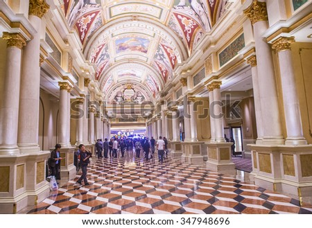 LAS VEGAS -OCT 23 : The interior of the Venetian hotel & Casino in Las Vegas on October 23 , 2015. With more than 4000 suites it's one of the most famous hotels in the world. - stock photo
