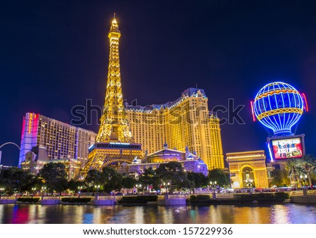 LAS VEGAS - OCT 01 : The Paris Las Vegas hotel and casino on October 01 , 2013 in Las Vegas, Nevada, USA. It includes a half scale, 541-foot (165 m) tall replica of the Eiffel Tower. - stock photo