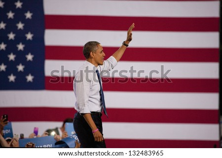LAS VEGAS - OCTOBER 24: Barack Obama on a campaign rally at Doolittle Park on October 24, 2012 in Las Vegas, Nevada