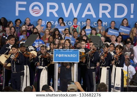 LAS VEGAS - OCTOBER 26: Mariachi band of young children at a Presidential Election campaign rally at Orr Middle School on October 26, 2012 in Las Vegas, NV - stock photo