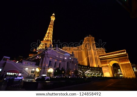 LAS VEGAS - OCTOBER 18: The Paris Las Vegas hotel and casino on October 18, 2012 in Las Vegas. The Paris opened in 1999 and features a replica of the Eiffel Tower. - stock photo