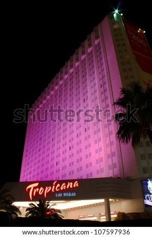 LAS VEGAS - OCTOBER 29: The Tropicana Las Vegas Hotel and Casino on October 29, 2011 in Las Vegas.  It was opened in 1957 making it one of the oldest hotels on the Las Vegas Strip. - stock photo