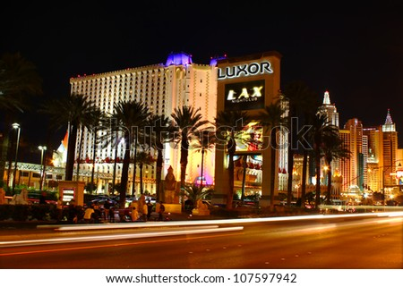 LAS VEGAS - OCTOBER 29: View of Las Vegas Boulevard on October 29, 2011 in Las Vegas.  Seen along the road are Luxor Las Vegas, Excaliber Hotel and Casino, and the New York New York Hotel and Casino. - stock photo