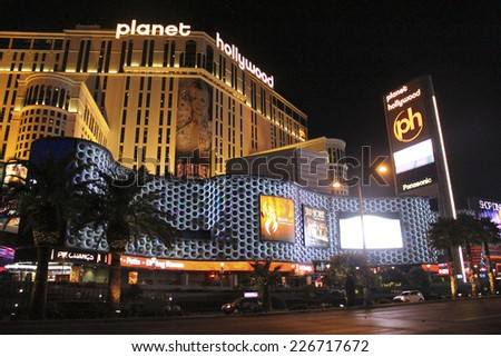 Las Vegas Planet Hollywood Hotel by Night in October 2014