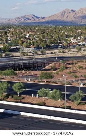 Las Vegas Residential Area in Summer Day. Las Vegas Residential Area Vertical Photo - stock photo