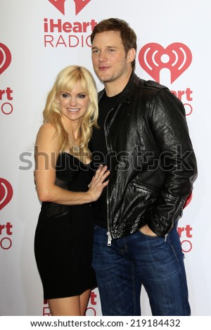 LAS VEGAS - SEP 19:  Anna Faris, Chris Pratt at the iHeart Radio Music Festival Night 1 at MGM Grand Resort and Casino on September 19, 2014 in Las Vegas, NV - stock photo