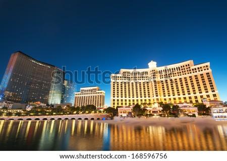 LAS VEGAS, SEP 11, 2010, Las Vegas - 11 Sep 2010  - Bellagio Hotel Casino during sunset - stock photo
