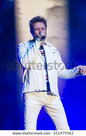 LAS VEGAS - SEP 26 : Musician Simon LeBon of Duran Duran performs onstage during day 2 of the 2015 Life Is Beautiful Festival on September 26, 2015 in Las Vegas, Nevada.