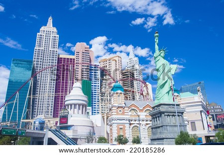 LAS VEGAS - SEP 20 : New York-New York Hotel & Casino in Las Vegas on September 20 2014; This hotel simulates the real New York City skyline and It was opened in 1997. - stock photo