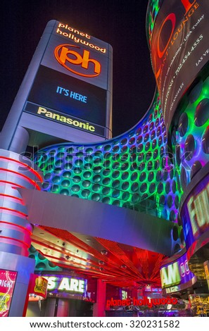 LAS VEGAS - SEP 03 : Planet Hollywood Resort and Casino in Las Vegas, Nevada on September 03 2015. Planet Hollywood has over 2,500 rooms available and it located on Las Vegas Boulevard.